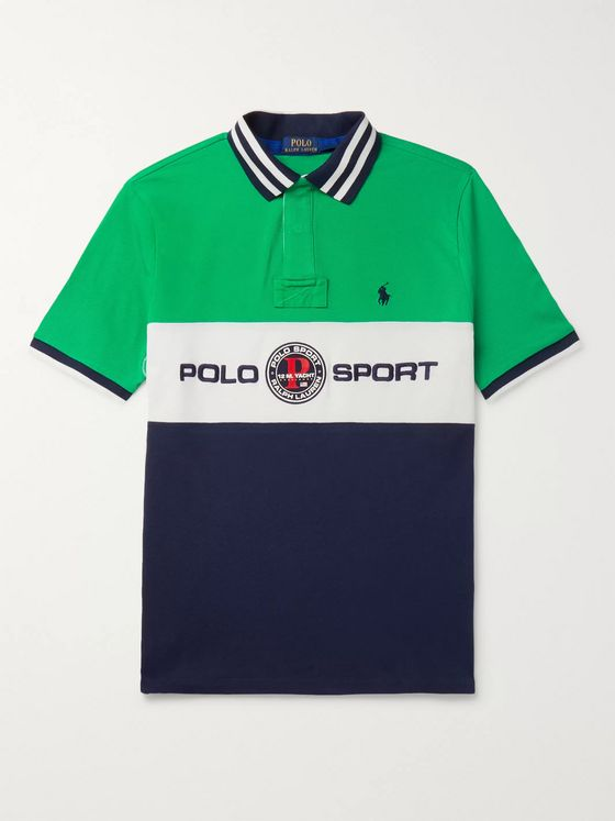 Polo Ralph Lauren Logo-Embroidered Appliquéd Colour-Block Cotton-Piqué Polo Shirt