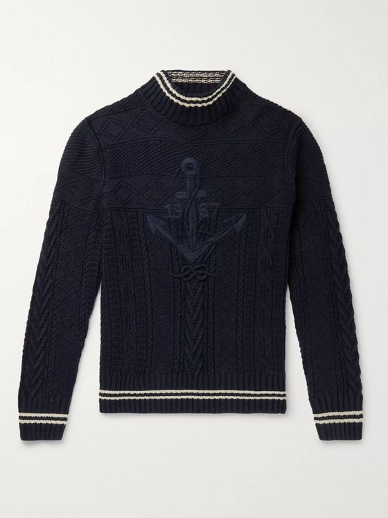 Polo Ralph Lauren Embroidered Cable-Knit Cotton-Blend Mock-Neck Sweater