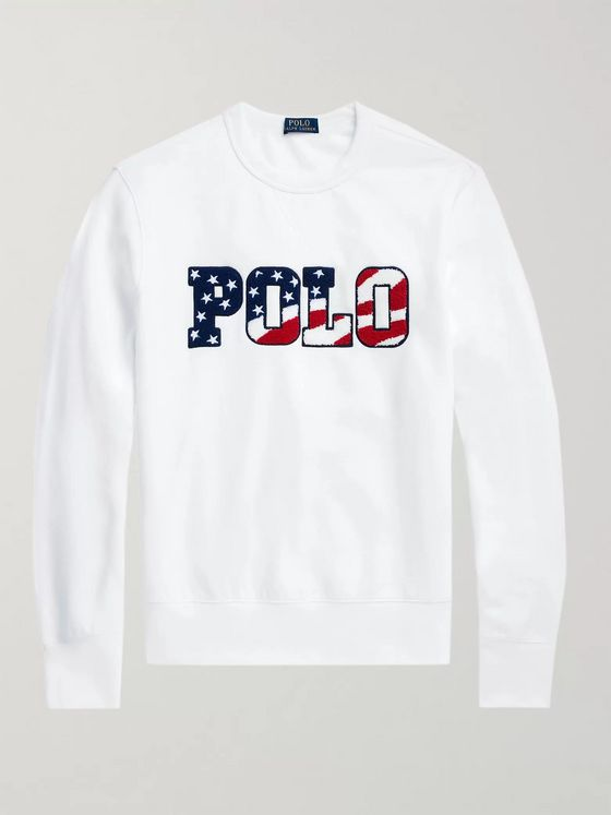 Polo Ralph Lauren Logo-Flocked Fleece-Back Cotton-Blend Jersey Sweatshirt