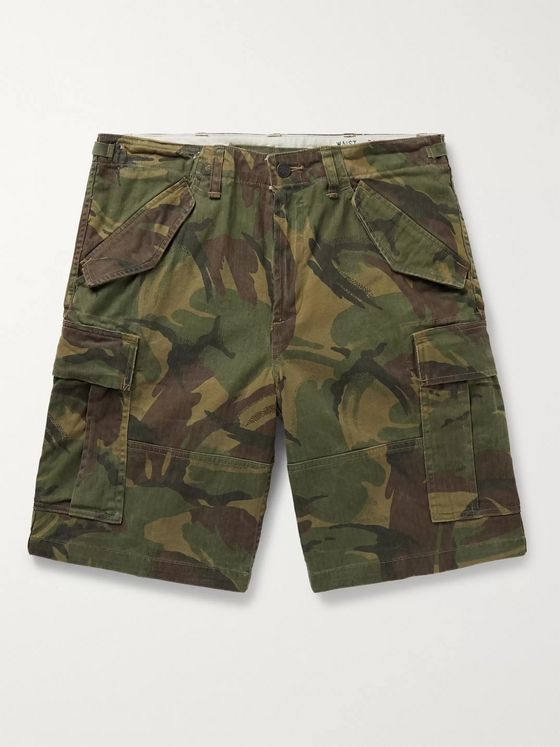 Polo Ralph Lauren Camouflage-Print Herringbone Cotton Cargo Shorts
