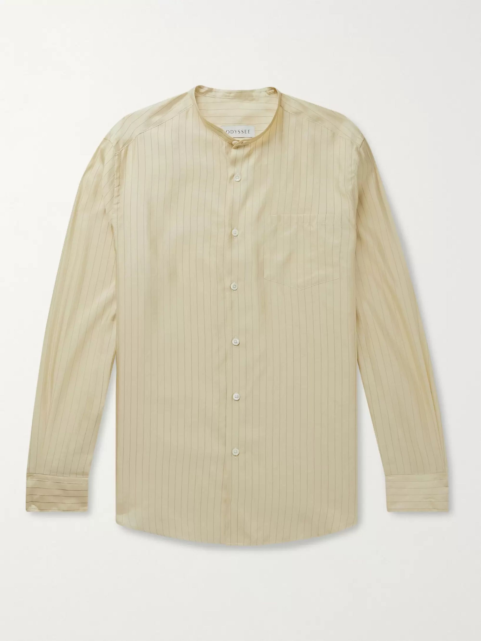 Odyssee Edwards Grandad-Collar Striped Silk and Cotton-Blend Shirt