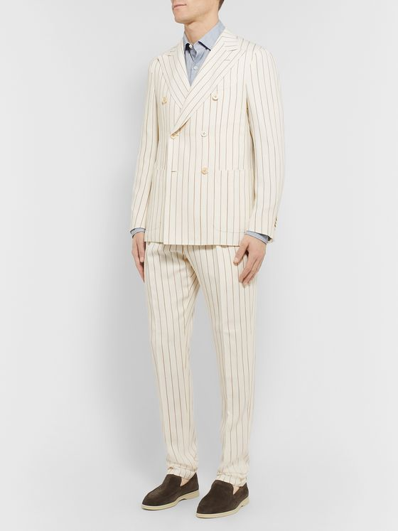 Odyssee Ivory Monroe Striped Hopsack Suit Trousers