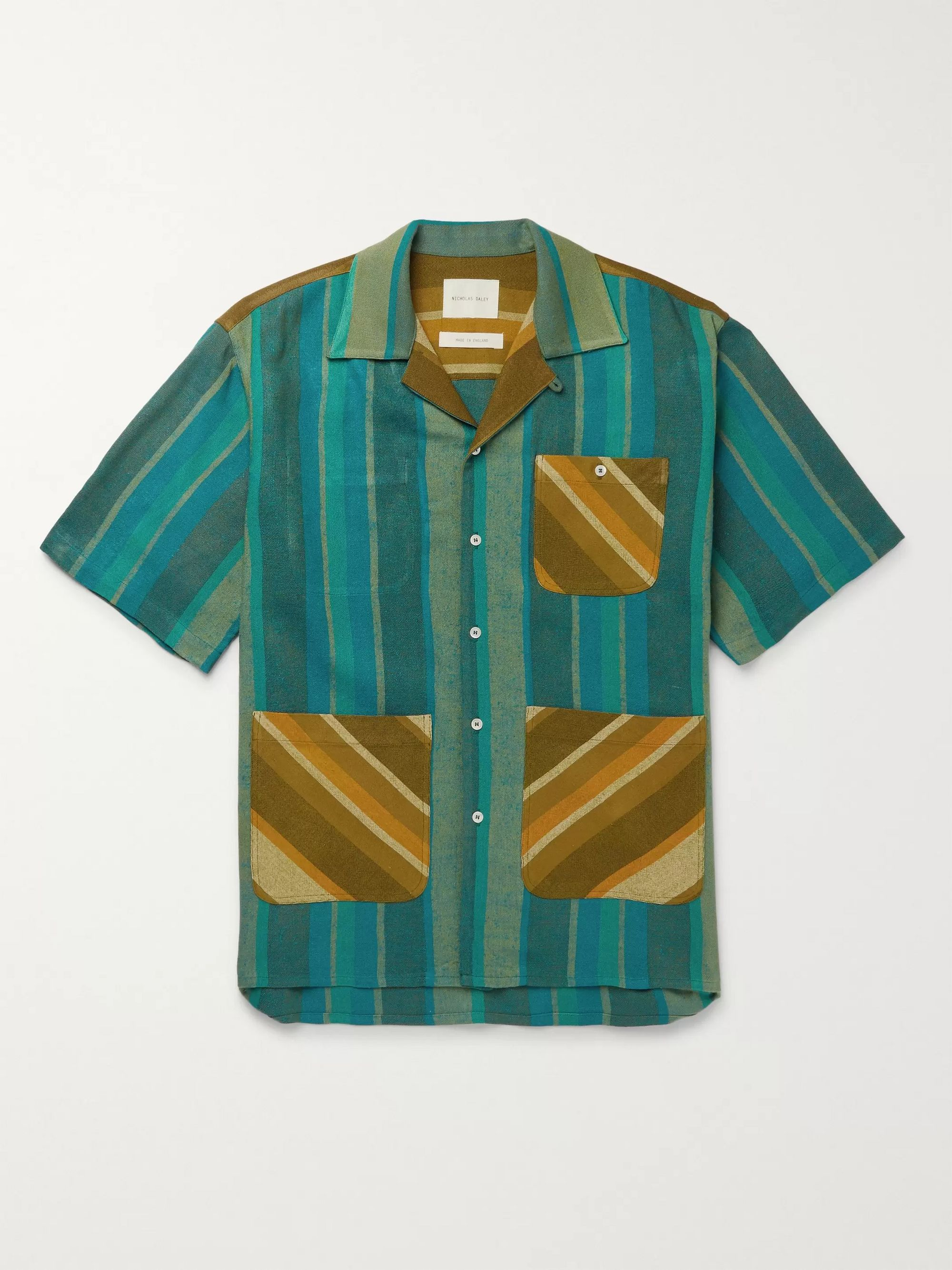 Nicholas Daley Camp-Collar Striped Cotton-Blend Canvas Shirt