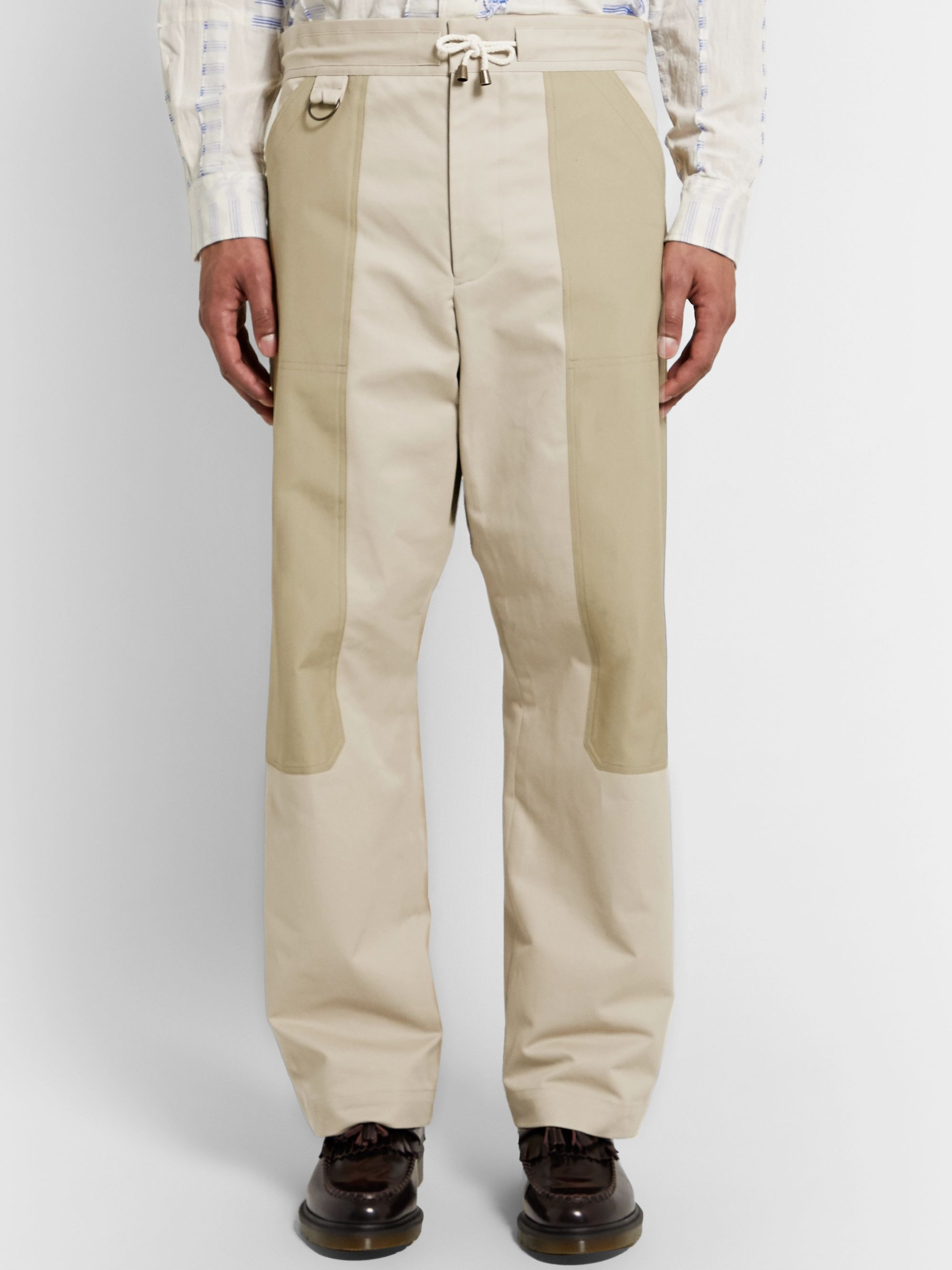 Nicholas Daley Wide-Leg Panelled Cotton-Twill Drawstring Trousers