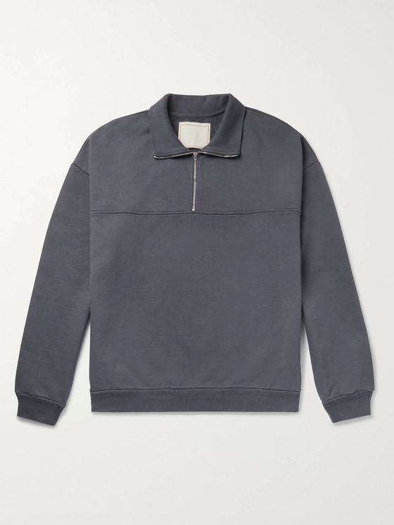 Jeanerica Fleece-Back Organic Cotton-Jersey Half-Zip Sweatshirt