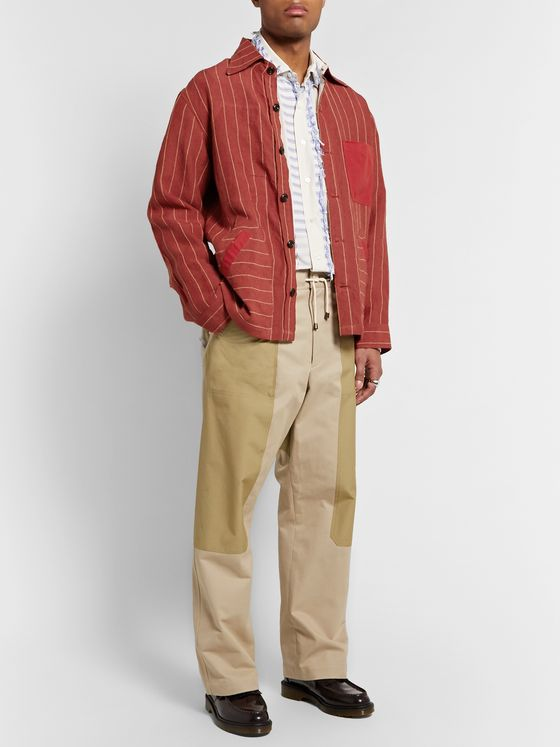Nicholas Daley Patchwork Pinstriped Linen and Cotton Shirt Jacket