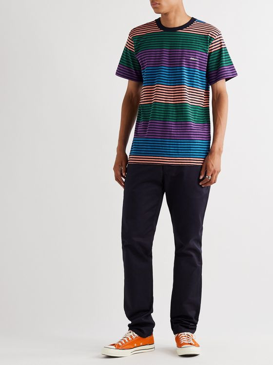 Adsum Candy Logo-Embroidered Striped Cotton-Jersey T-Shirt