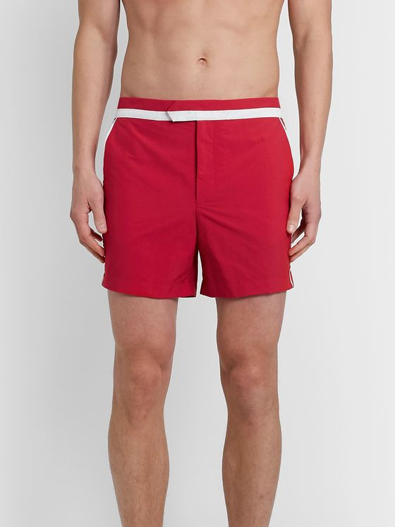 Odyssee Vallauris Slim-Fit Short-Length Piped Swim Shorts