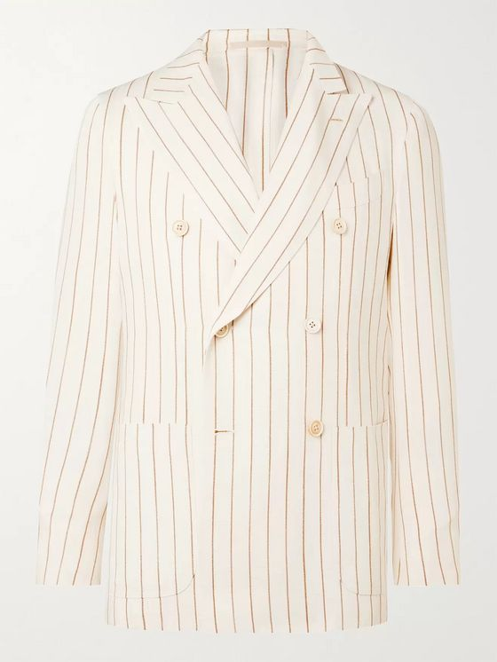Odyssee Ivory Monroe Unstructured Double-Breasted Striped Hopsack Suit Jacket