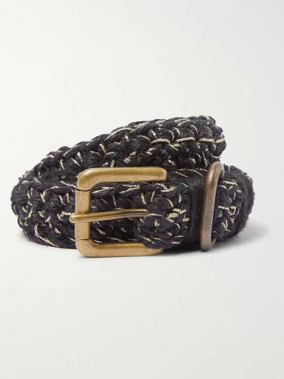 Nicholas Daley Crocheted Metallic Jute and Cotton-Blend Belt
