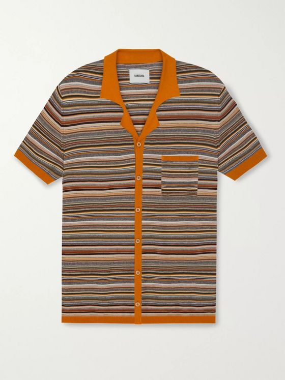 Nanushka Taro Camp-Collar Striped Knitted Cotton Shirt