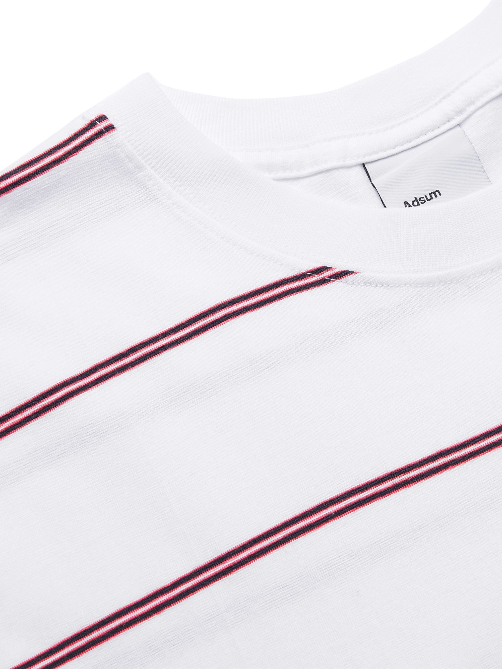 White Logo-embroidered Striped Cotton-jersey T-shirt | Adsum