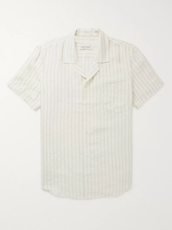 Odyssee Dune Camp-Collar Striped Woven Shirt