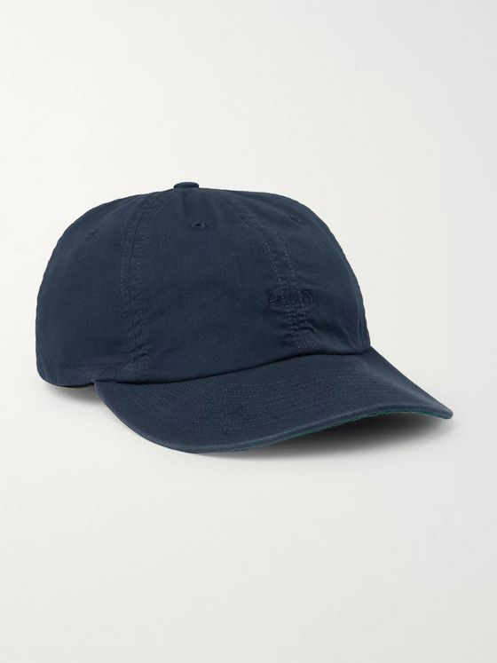 Adsum Logo-Embroidered Leather-Trimmed Cotton-Twill Baseball Cap