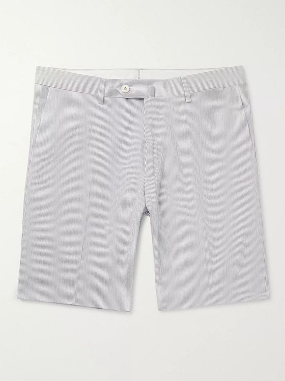 Odyssee Pierre Pinstriped Cotton-Blend Seersucker Shorts