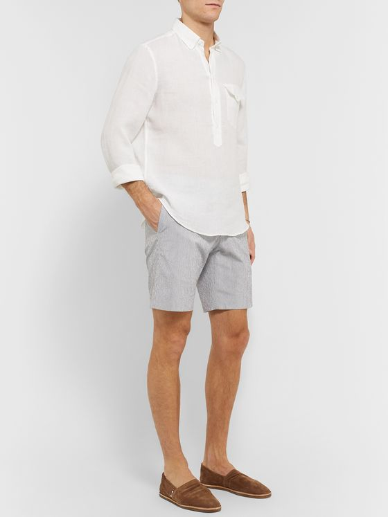 Odyssee Pierre Pinstriped Linen-Seersucker Shorts