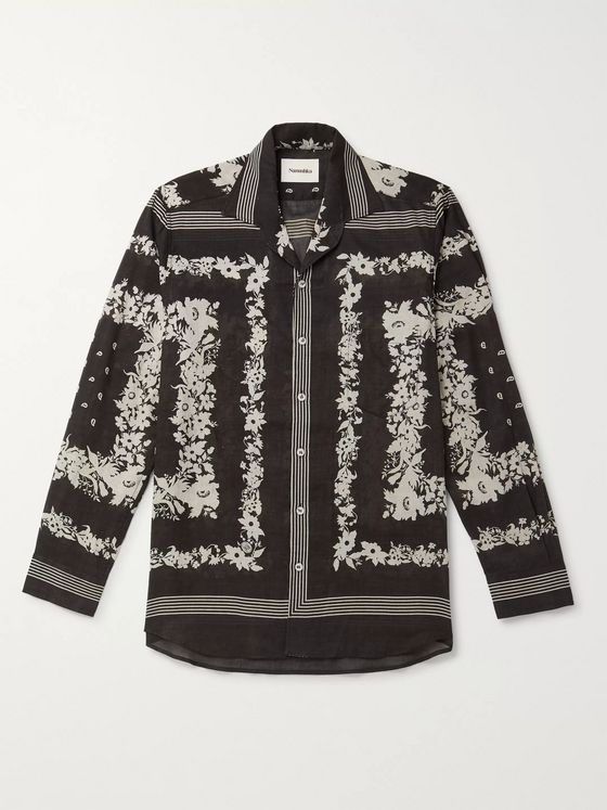 Nanushka Lars Camp-Collar Printed Cotton-Voile Shirt