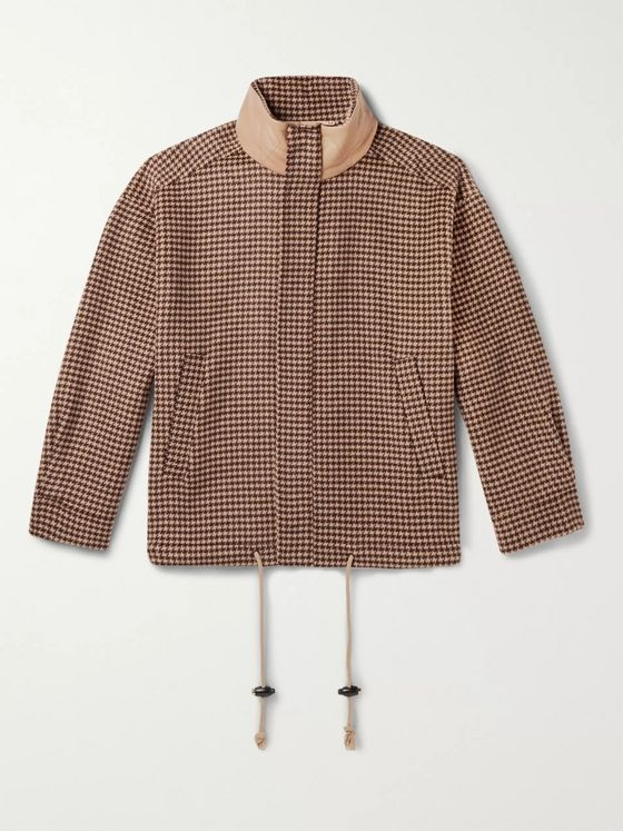 Nanushka Hayden Faux Leather-Trimmed Houndstooth Wool and Silk-Blend Jacket