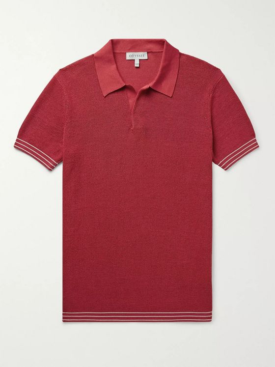 Odyssee Foret Slim-Fit Knitted Cotton Polo Shirt