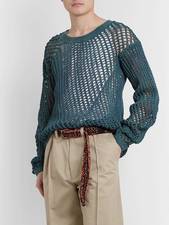 Nicholas Daley Crocheted Jute and Cotton-Blend Belt