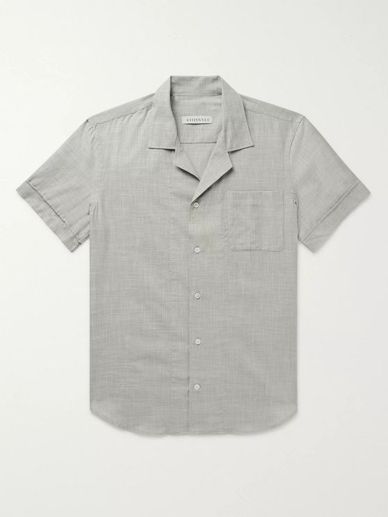 Odyssee Maylen Camp-Collar Basketweave Cotton Shirt