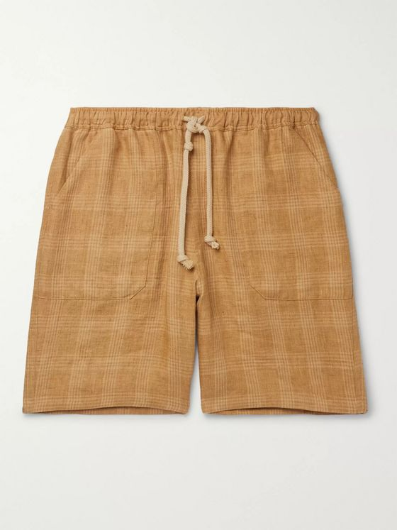 Nanushka Jem Checked Linen Drawstring Shorts