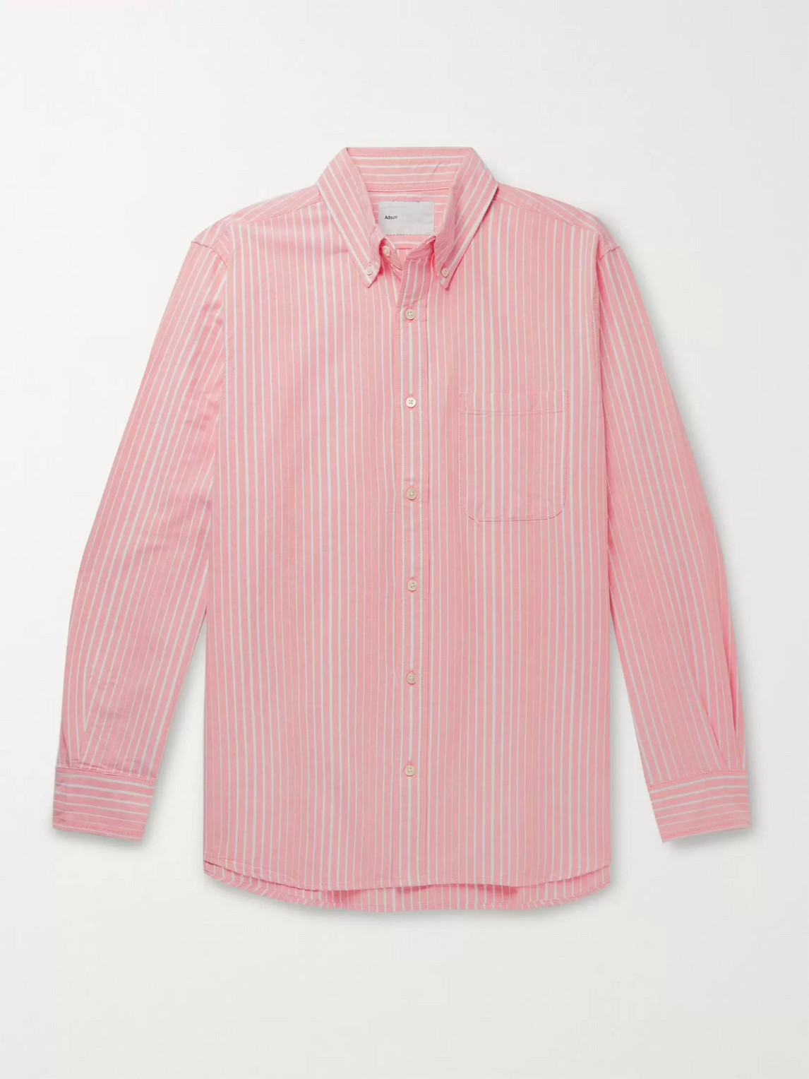 Adsum Button-down Collar Striped Cotton Oxford Shirt In Orange