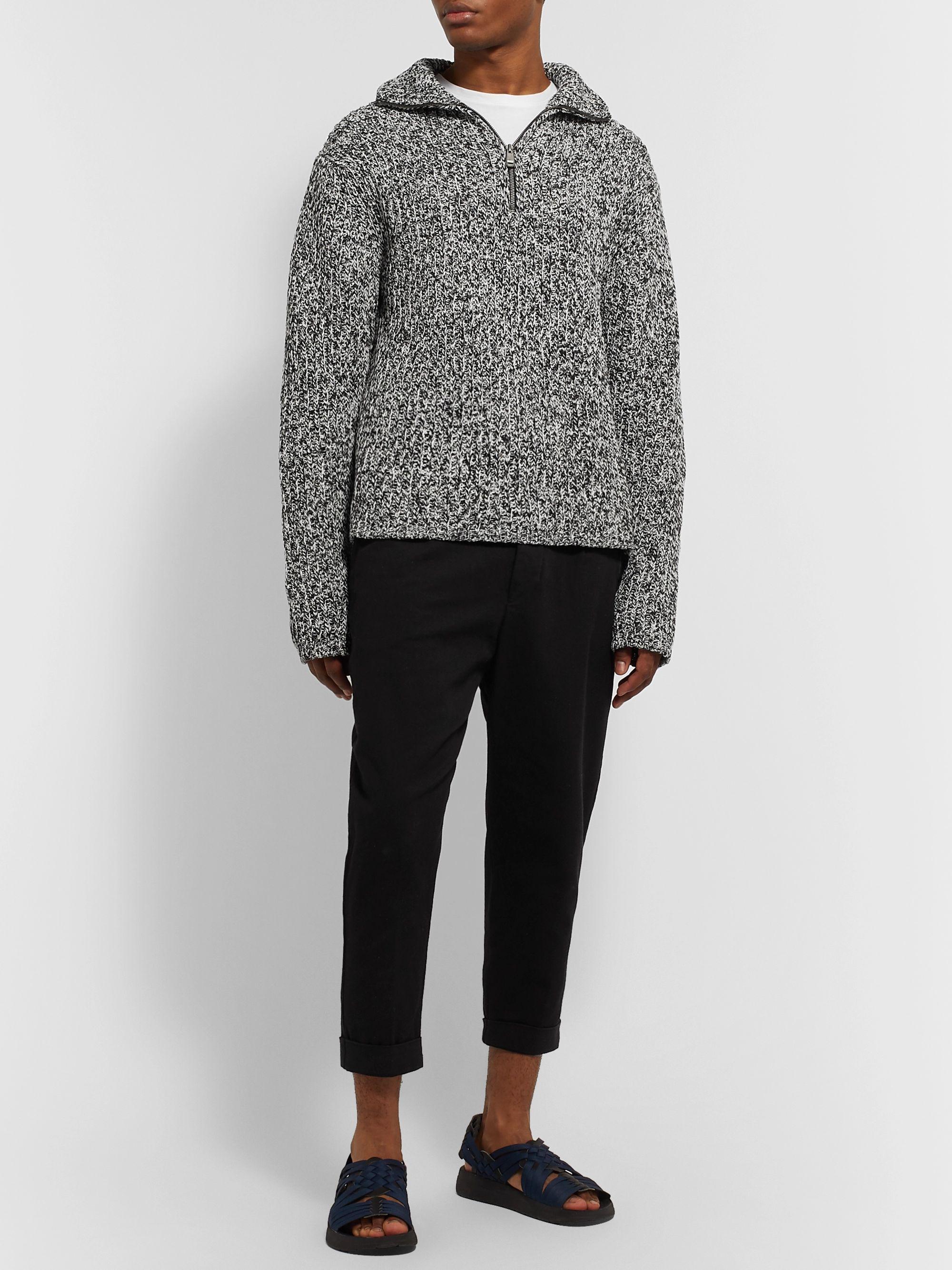 Elay Ribbed Mélange Cotton Blend Half Zip Sweatshirt