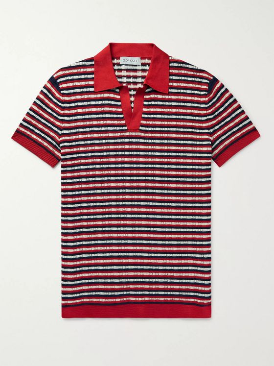 Odyssee Murphy Slim-Fit Striped Crocheted Cotton Polo Shirt