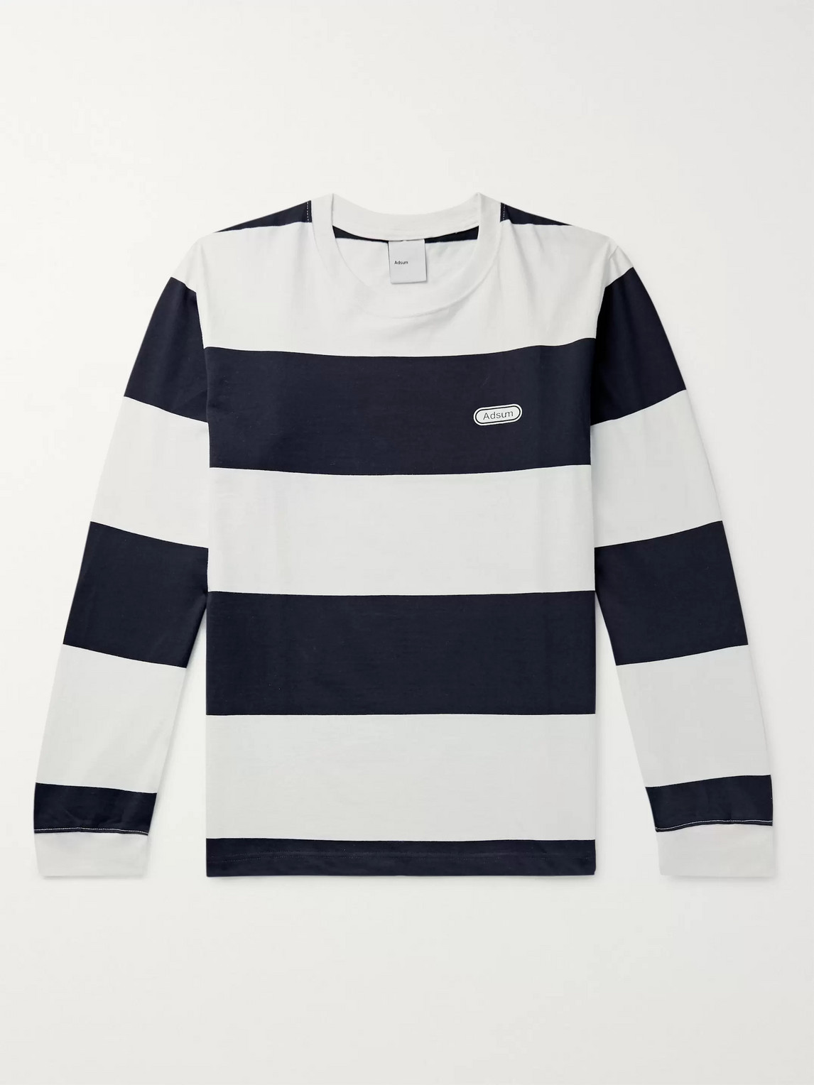 Adsum Logo-print Striped Cotton-jersey T-shirt In Blue