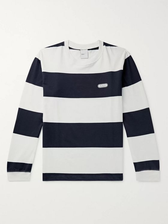 Adsum Logo-Print Striped Cotton-Jersey T-Shirt