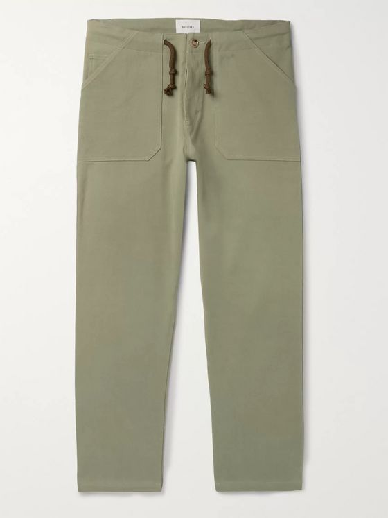 Nanushka Nova Tapered Stretch-Cotton Twill Drawstring Trousers