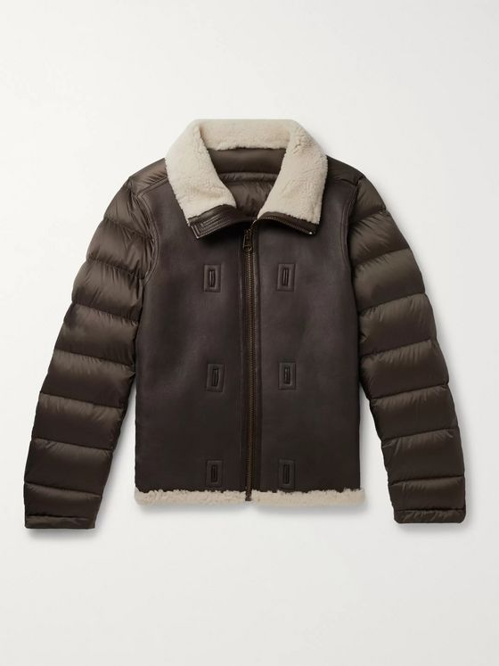 Ten C Shearling-Lined Leather and Quilted Shell Down Liner