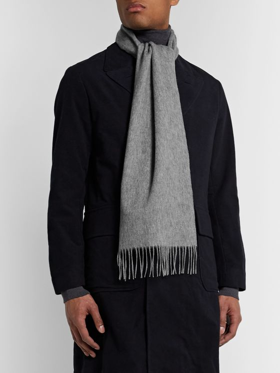 Mulberry Fringed Logo-Embroidered Wool Scarf