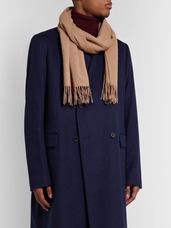 Mulberry Fringed Logo-Embroidered Mélange Lambswool Scarf