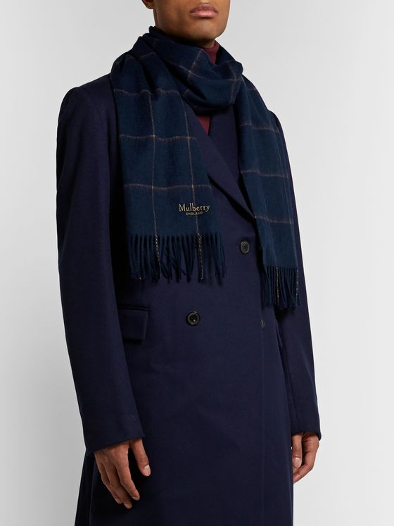 Mulberry Fringed Logo-Embroidered Checked Wool Scarf