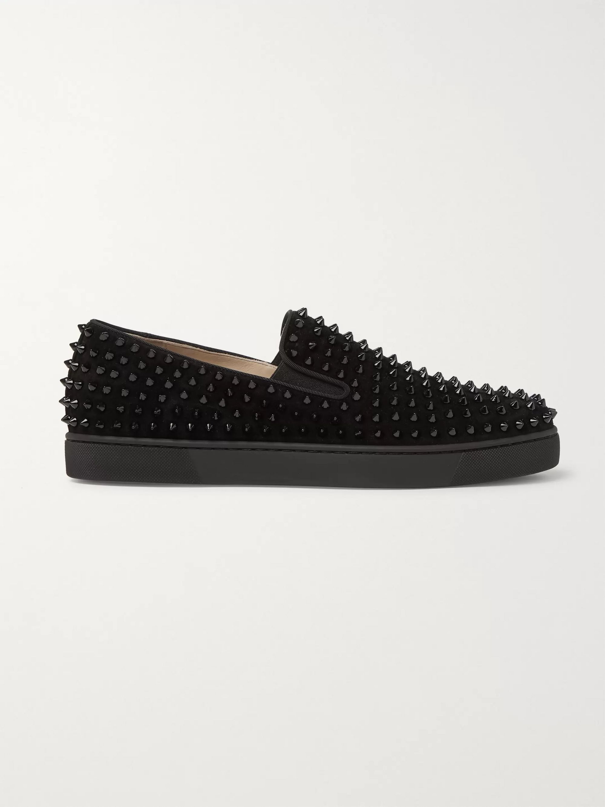 Christian Louboutin Roller-Boat Spiked Suede Slip-On Sneakers