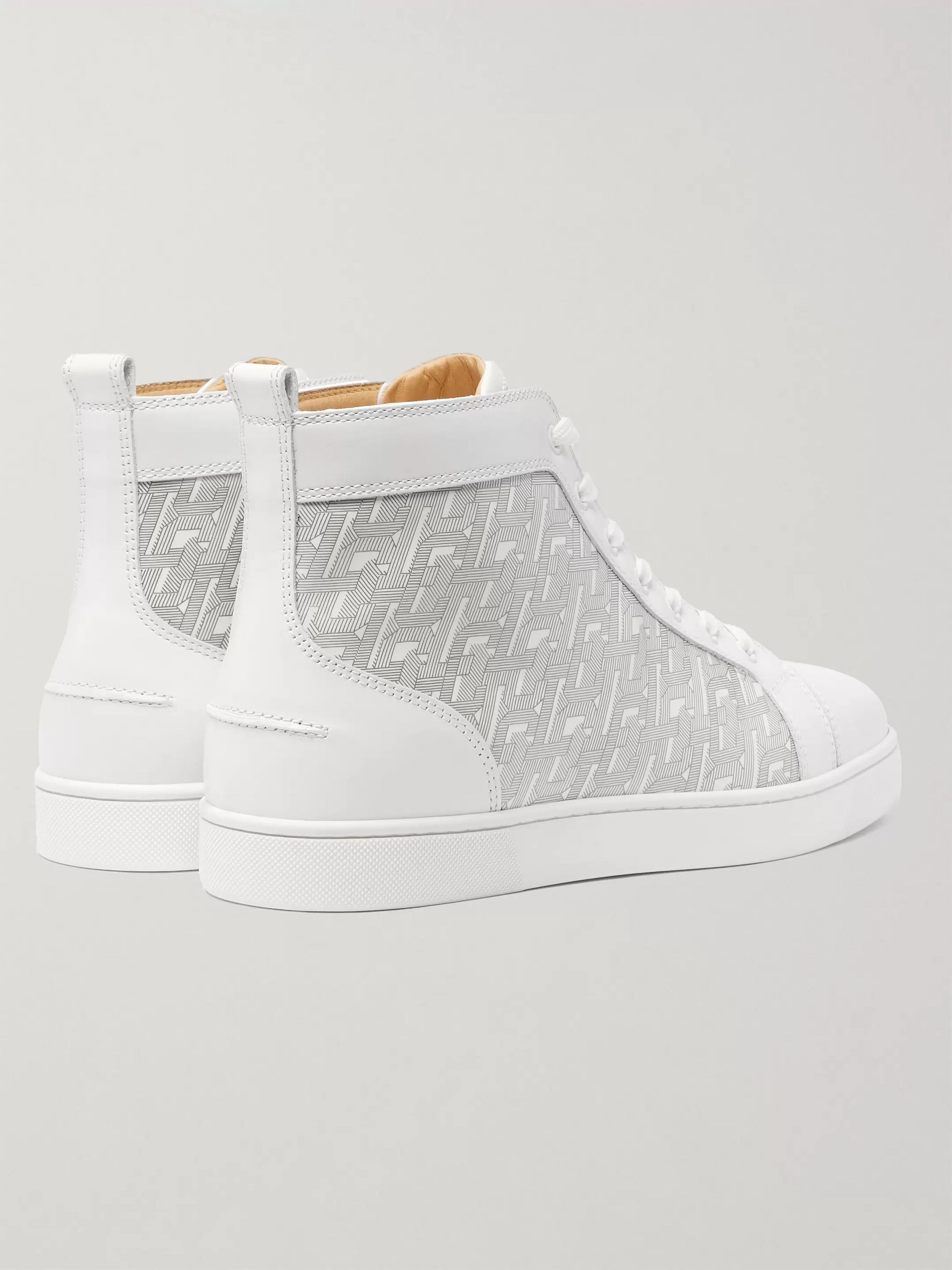 White Louis Smooth And Logo-print Patent-leather High-top Sneakers   Christian Louboutin