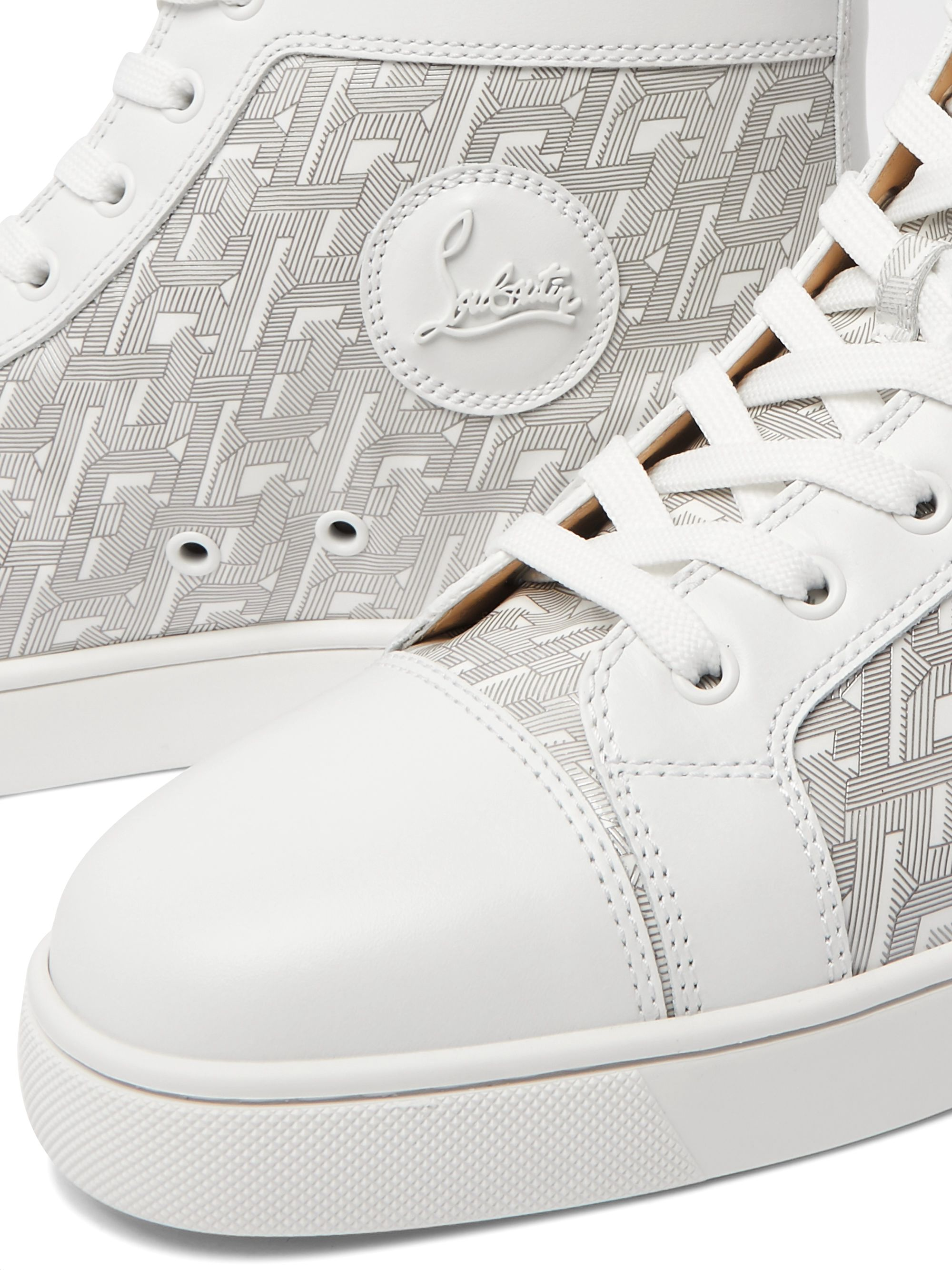 Christian Louboutin Louis Smooth and Logo-Print Patent-Leather High-Top Sneakers