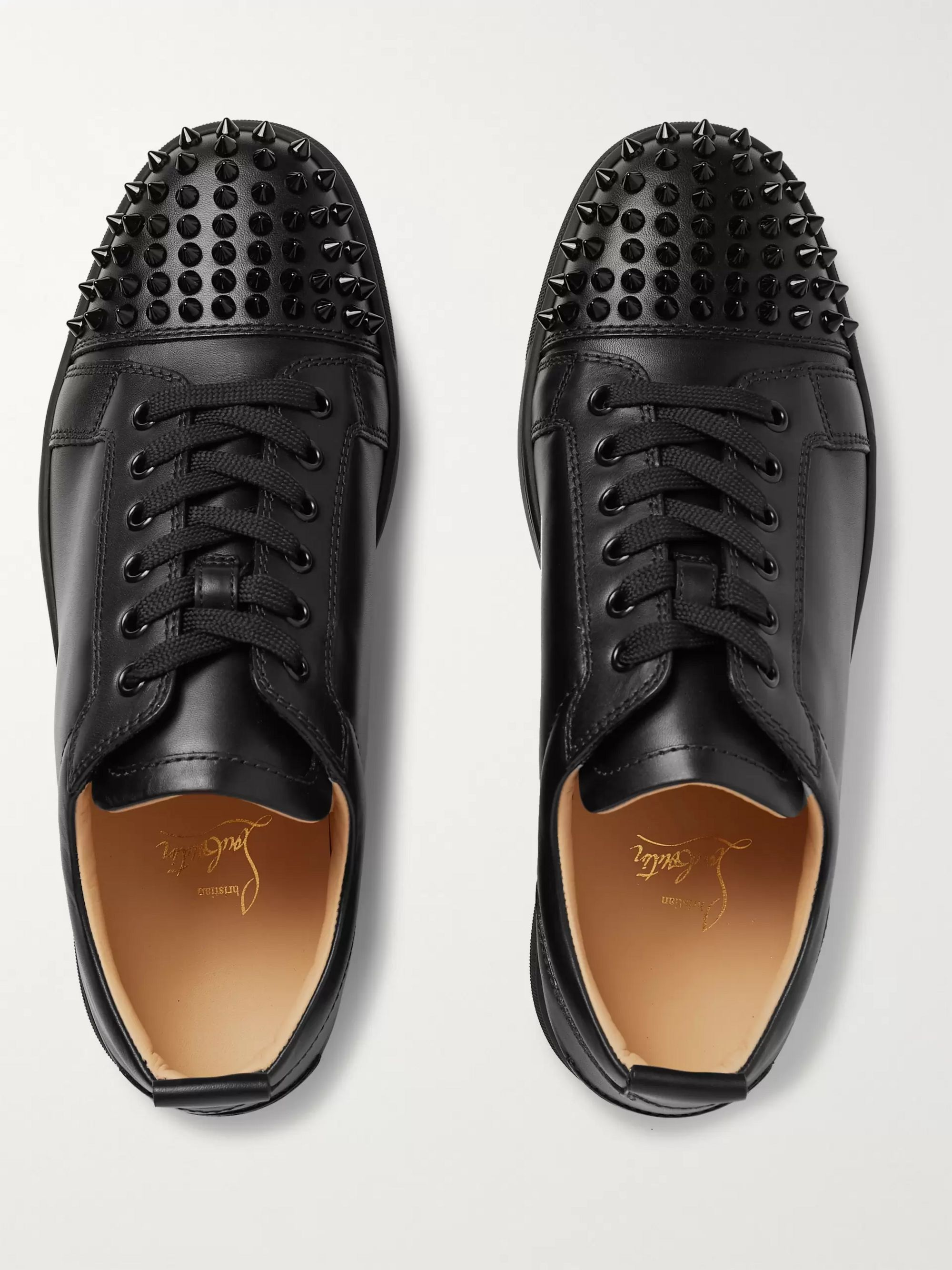 Christian Louboutin Louis Junior Spikes Cap-Toe Leather Sneakers