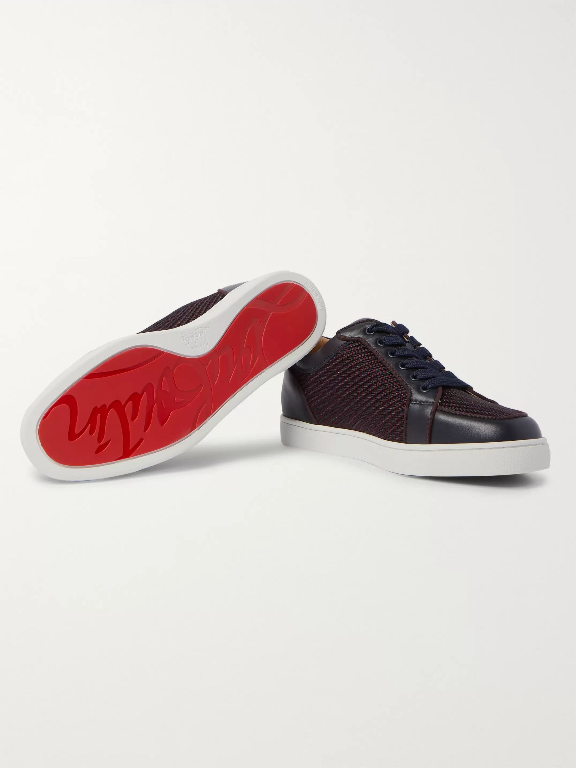 Christian Louboutin Rantulow Orlato Leather and Raffia Sneakers