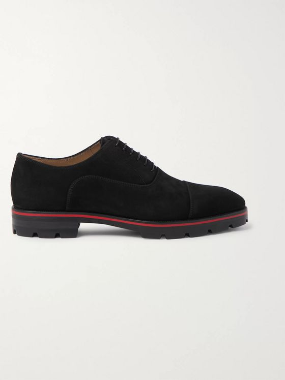 Christian Louboutin Hubertus Cap-Toe Suede Oxford Shoes
