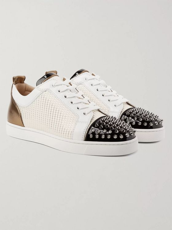Christian Louboutin Louis Junior Spikes Orlato Leather and Jacquard Sneakers