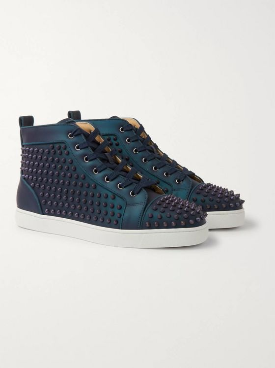 Christian Louboutin Louis Orlato Spikes Iridescent Leather High-Top Sneakers