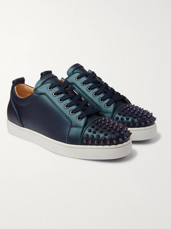 Christian Louboutin Louis Junior Spikes Cap-Toe Iridescent Leather Sneakers