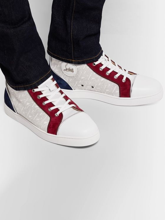 Louis Orlato Suede, Leather and Denim High Top Sneakers