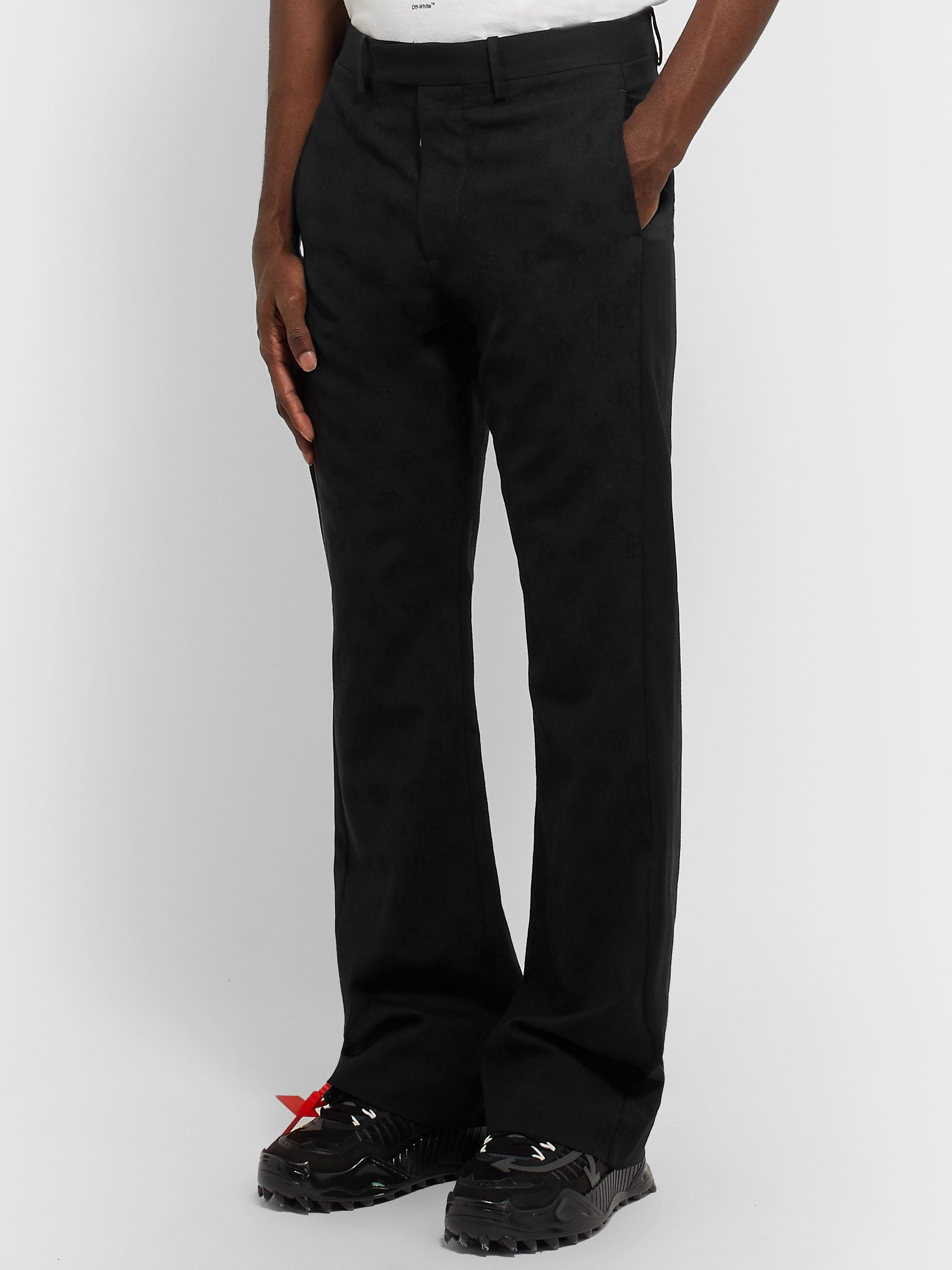 Off-White Black Slim-Fit Flared Shell-Trimmed Wool-Jacquard Suit Trousers