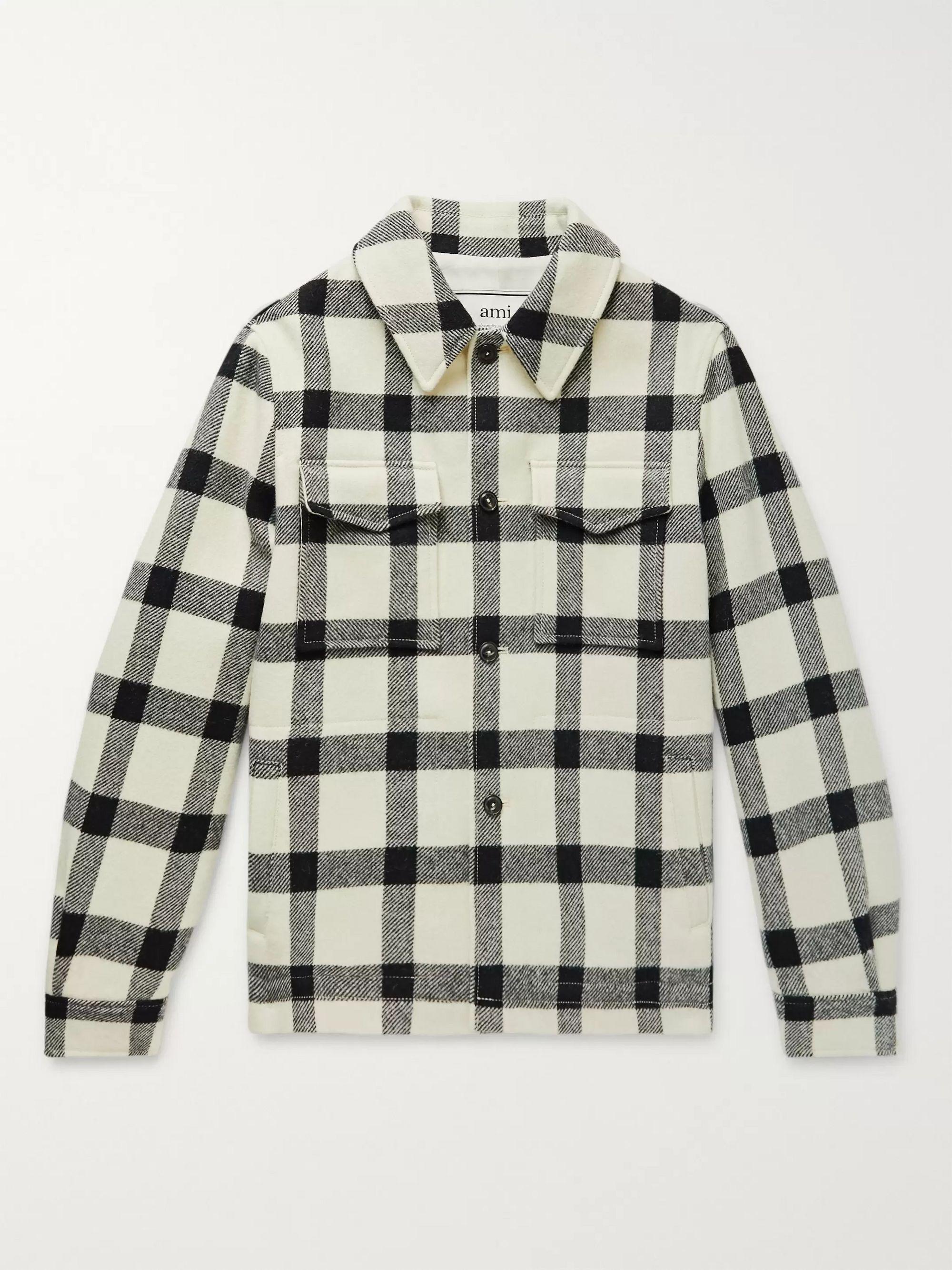 AMI Cream Windowpane-Checked Virgin Wool Overshirt,Cream