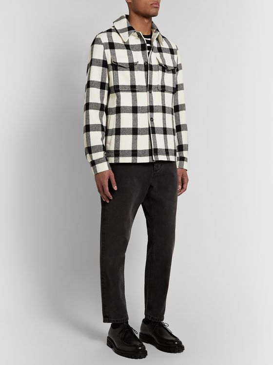 AMI Windowpane-Checked Virgin Wool Overshirt