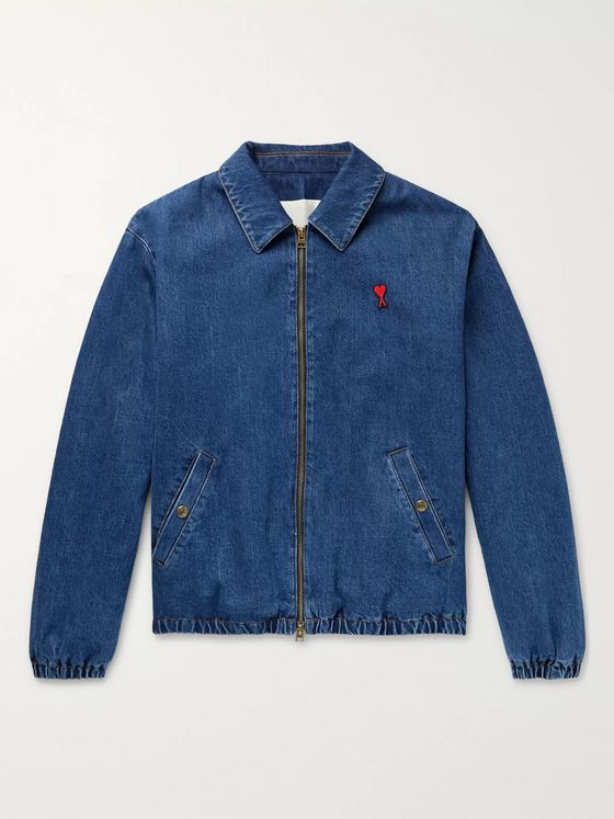 AMI Logo-Appliquéd Denim Bomber Jacket